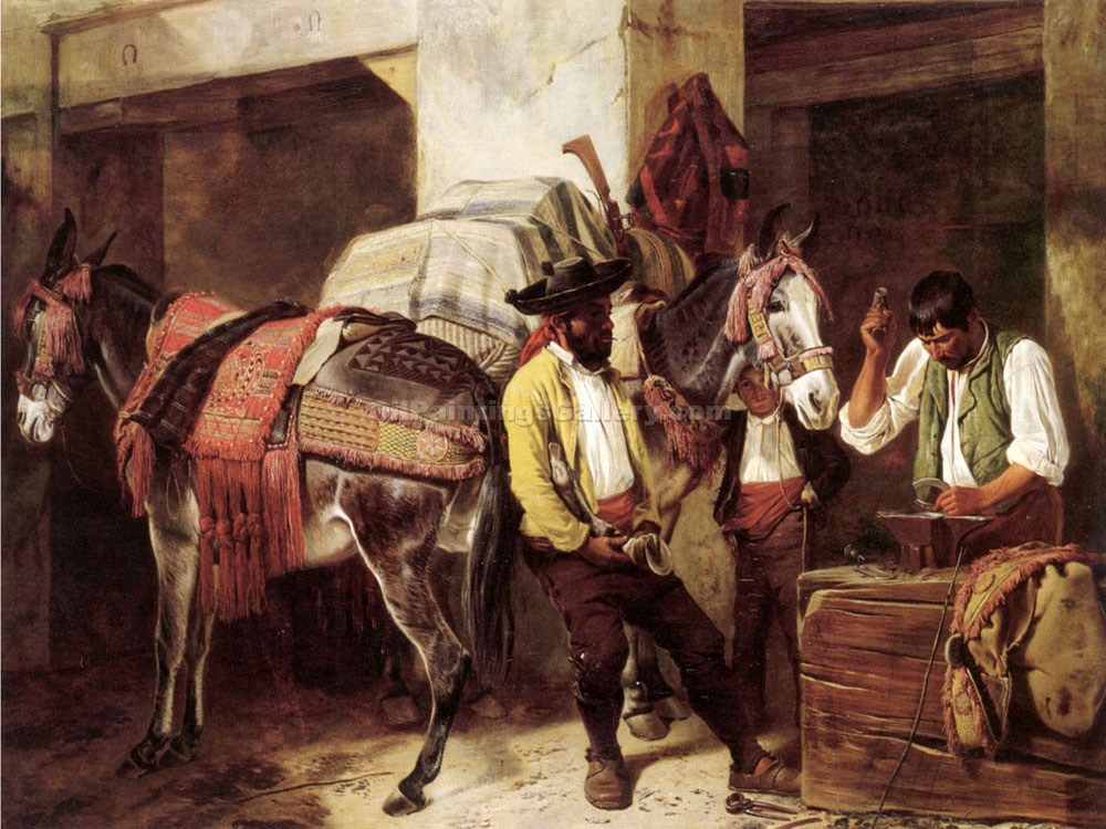 The Blacksmiths Shop by Richard Ansdell |Classic Paintings Gallery - Oil Paintings Gallery