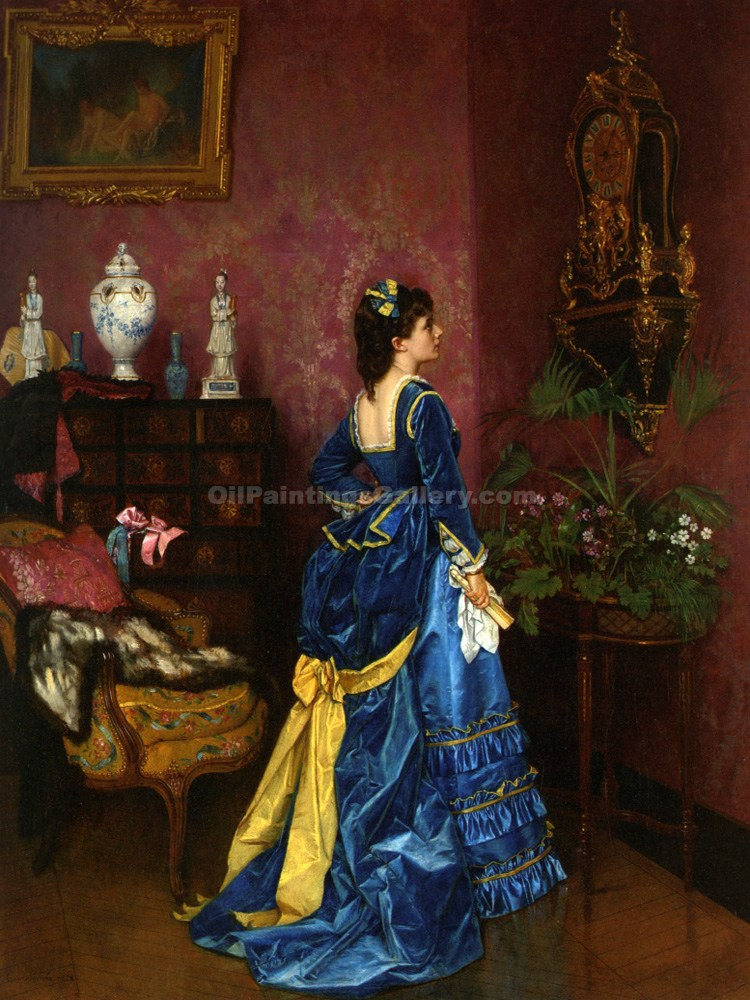 """The Blue Dress"" by  Auguste Toulmouche"