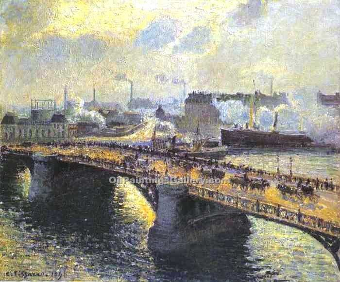 The Boieldiieu Bridge at Rouen by Camille Pissarro | Oil Painting Gallery - Oil Paintings Gallery