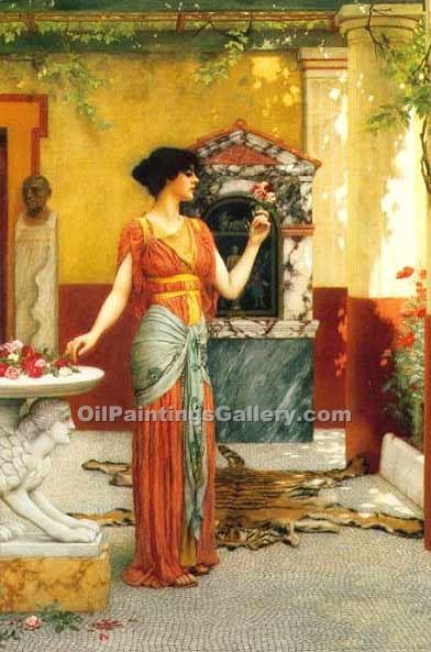 The Bouquet by John William Godward | Paintings For Sale Online - Oil Paintings Gallery