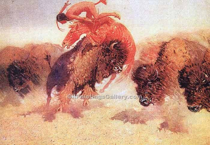 """The Buffalo Runner"" by  Frederic Remington"