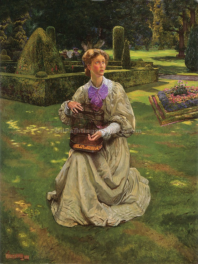 """The Caged Bird"" by  John Byam Liston Shaw"