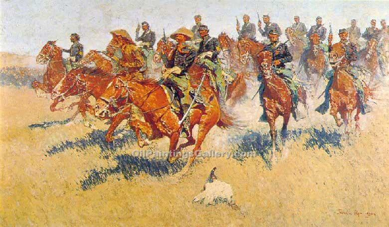 The Cavalry Charge by Frederic Remington | Art Deco Paintings - Oil Paintings Gallery