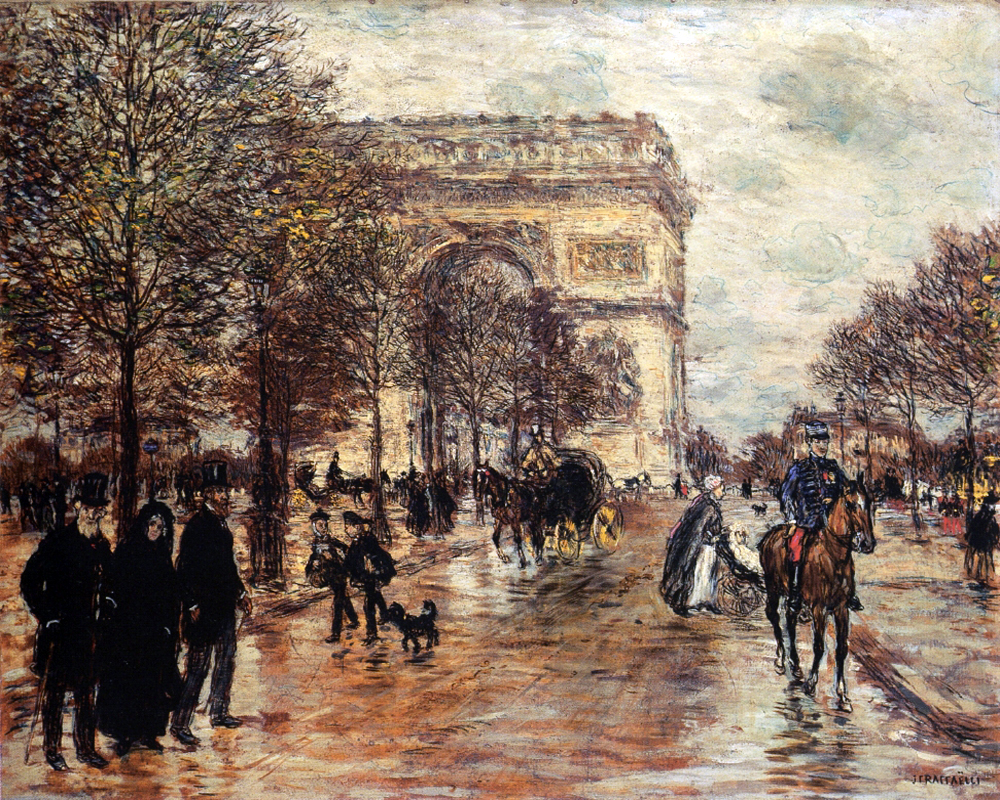 """The Champs-Elysees, The Arc of Triumph"" by  Jean Francois Raffaelli"