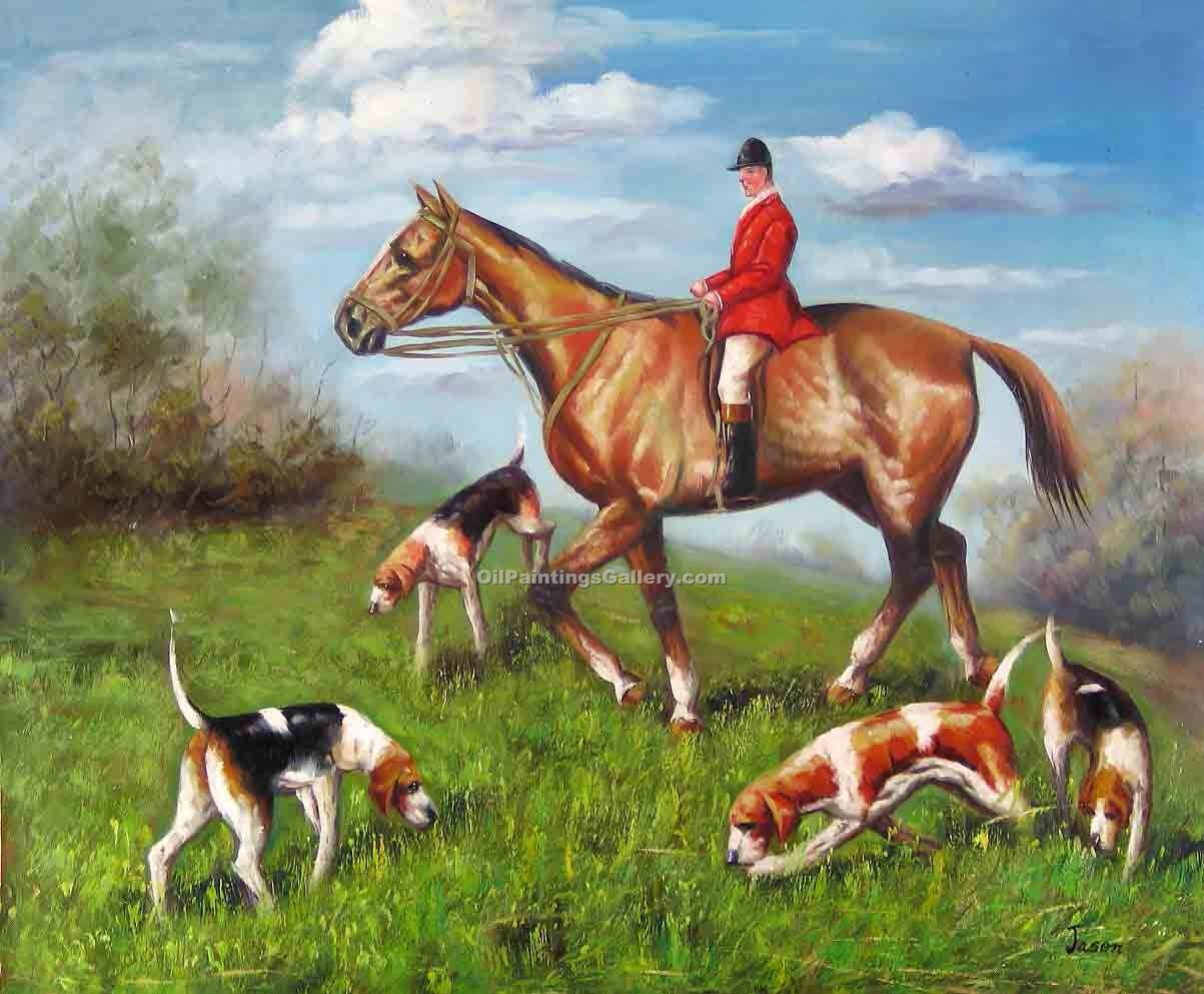 Buy Horse or Hunting Oil Painting Online | Realism & Naturalism styles - The Chase 06