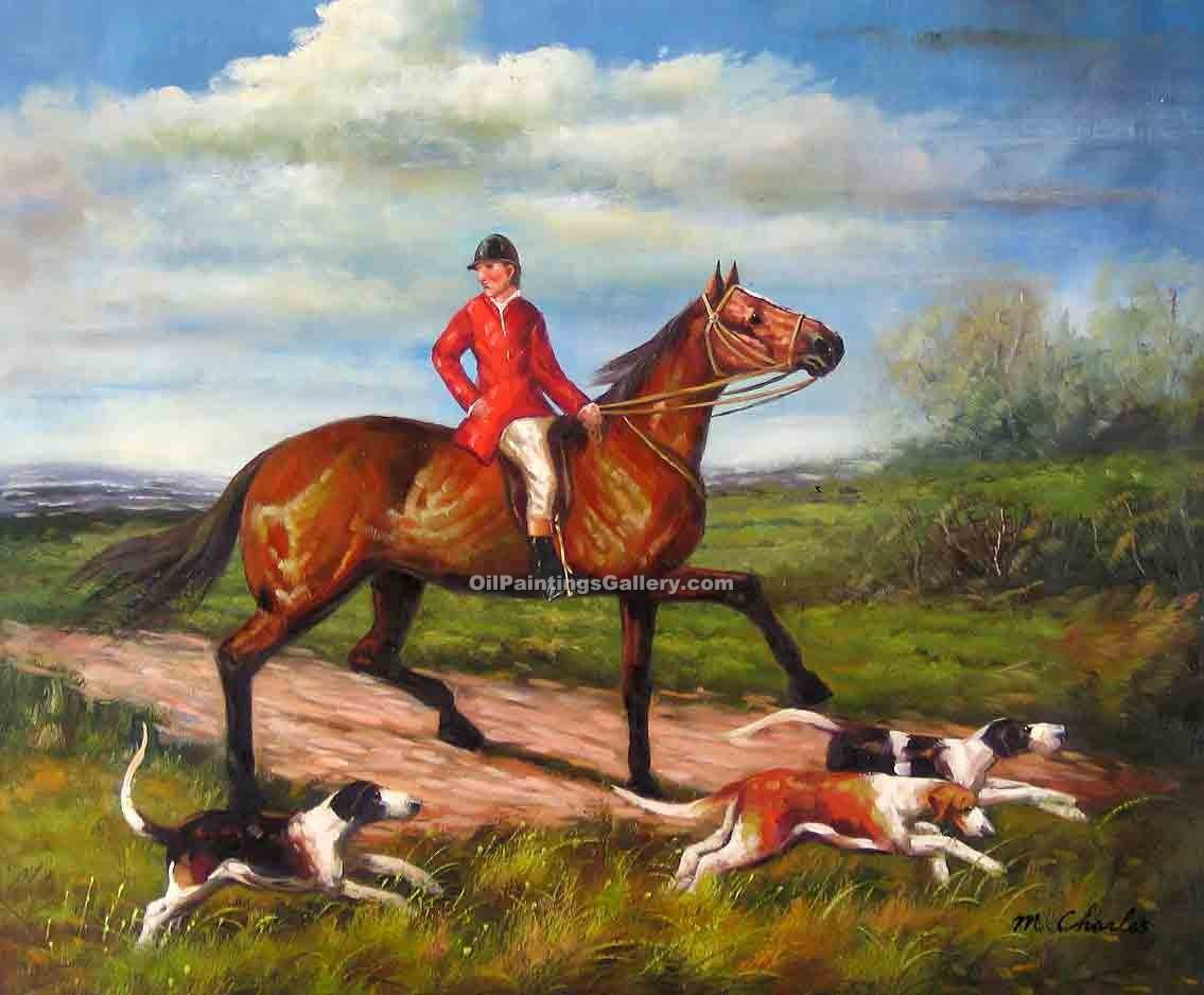Buy Horse or Hunting Oil Painting Online | Realism & Naturalism styles - The Chase 13