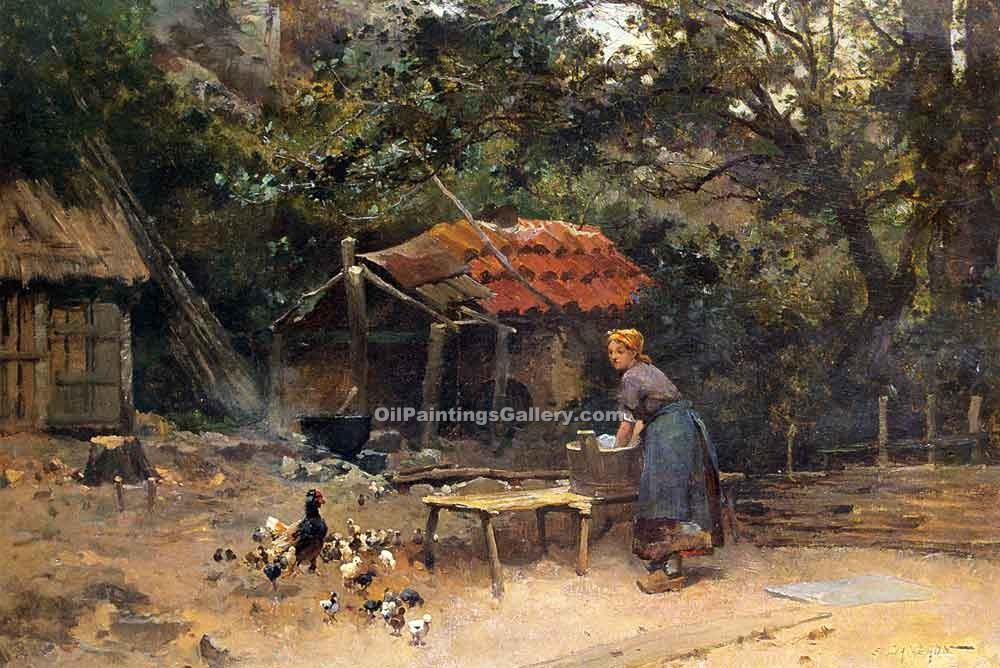 Buy Oil Painting Landscapes Online | Realism & Naturalism styles - The Chicken Run Emile Charles Dameron