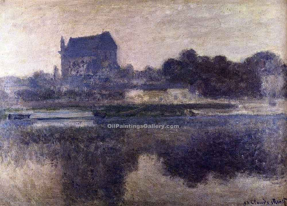 """The Church of Vernon In the Mist"" by  Claude Monet"