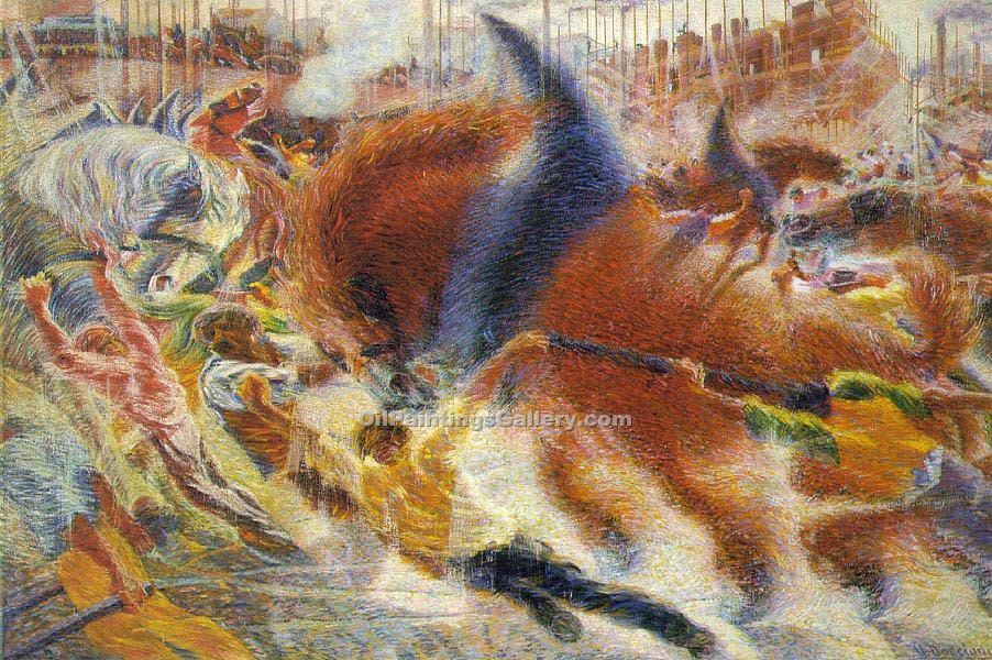 The City Rises by Umberto Boccioni | Art Deco Paintings - Oil Paintings Gallery