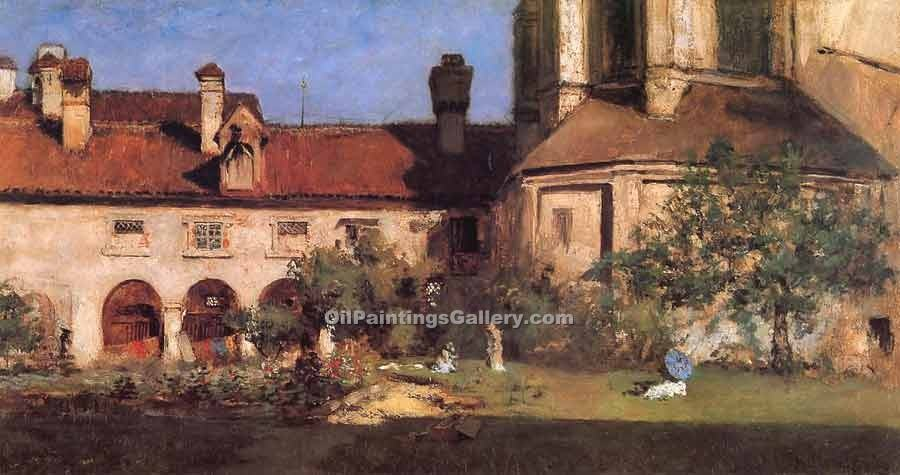 """The Cloisters"" by  William Merritt Chase"