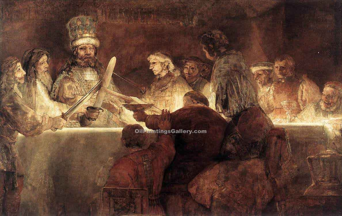 """The Conspiration of the Bataves"" by  Harmenszoonvan Van Rijn Rembrandt"