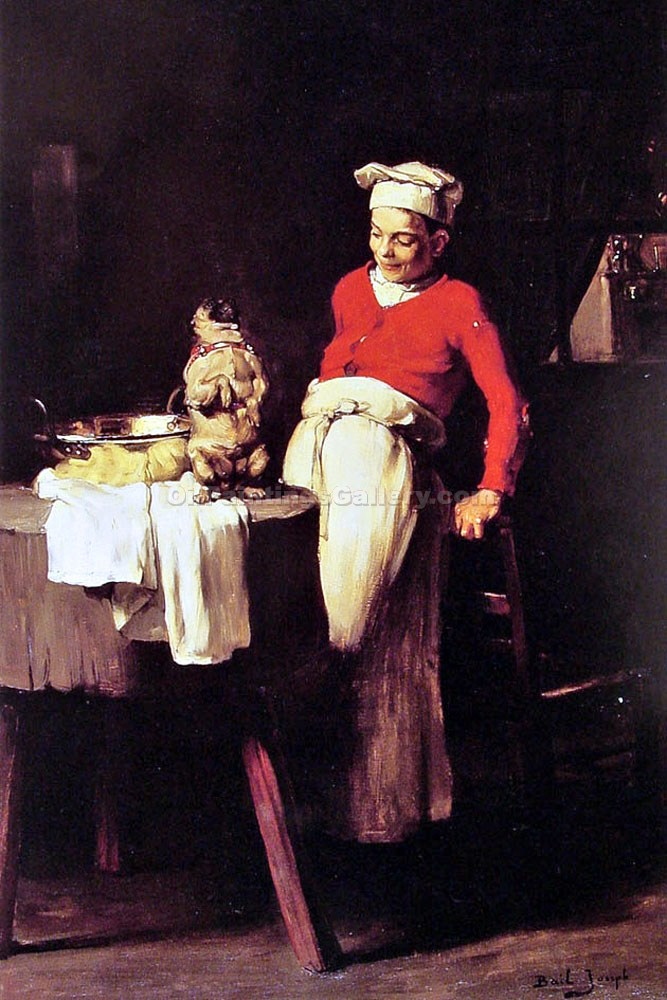 The Cook and the Pug by Claude JosephBail | American Paintings - Oil Paintings Gallery