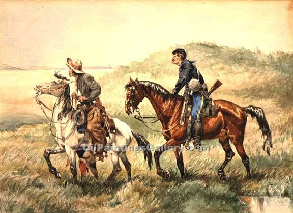 """The Couriers"" by  Frederic Remington"