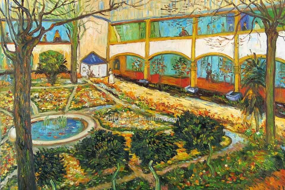 """The Courtyard in Arles"" by  Vincent Van Gogh"