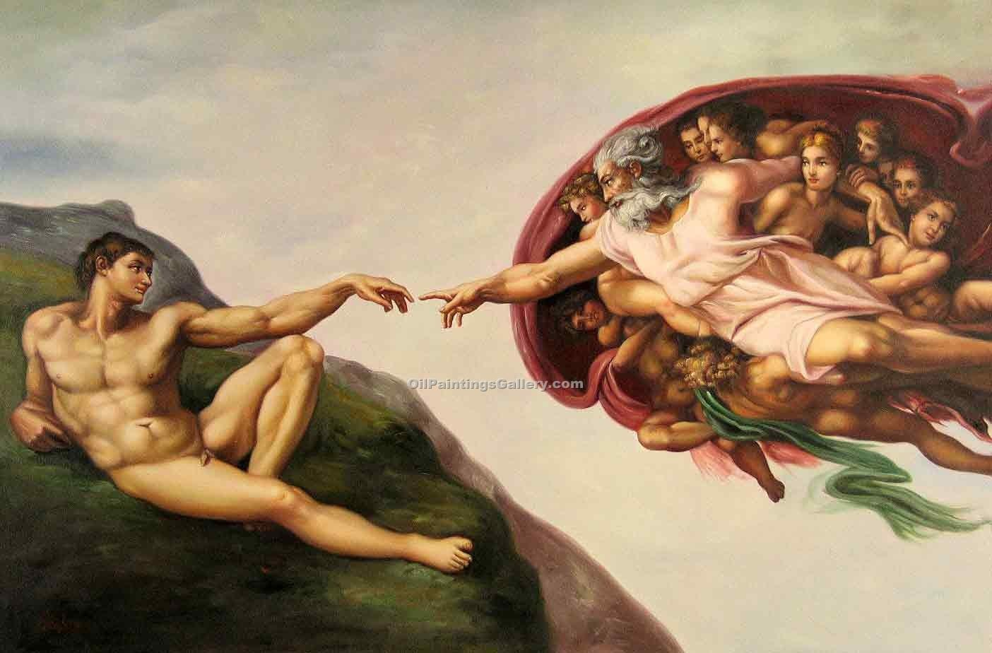 """The Creation of Adam"" by  Buonarroti Michelangelo"