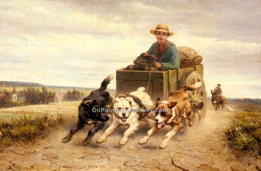 The Dog Cart by Knip Henriette Ronner | Painting Artists - Oil Paintings Gallery