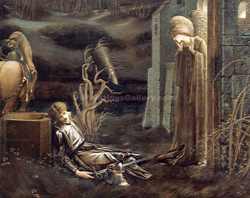 The Dream of Launcelot at the Chapel of the San Graal by Jones Edward Burne | Custom Made Paintings - Oil Paintings Gallery