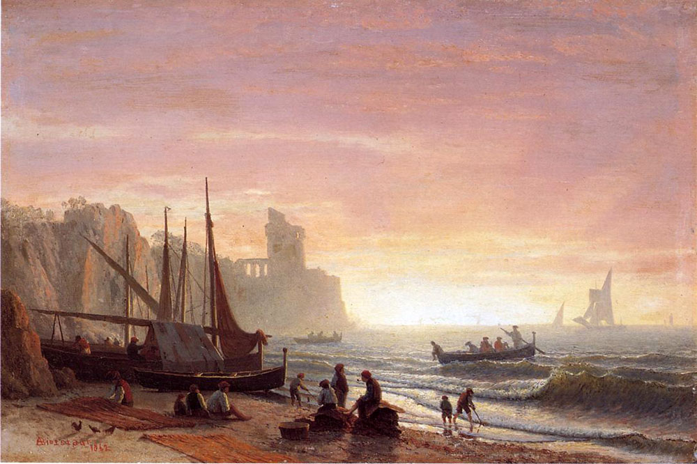 """The Fishing Fleet"" by  Albert Bierstadt"