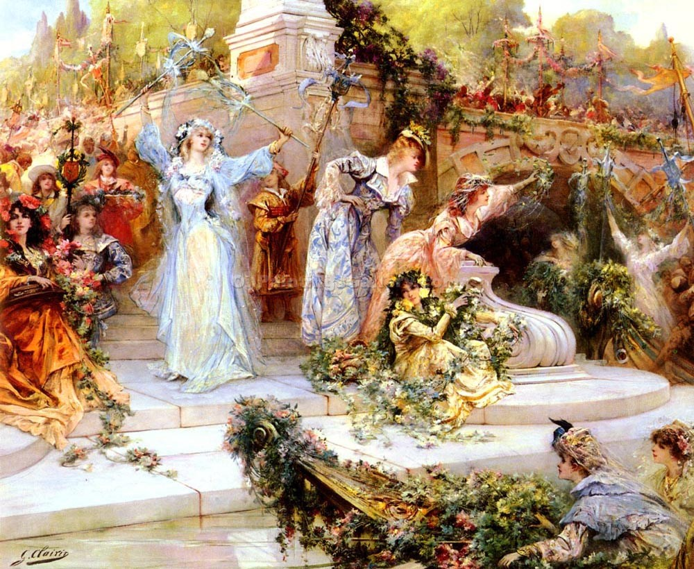 The Flower Festival by Georges Jules VictorClairin | Contemporary Abstract Artists - Oil Paintings Gallery
