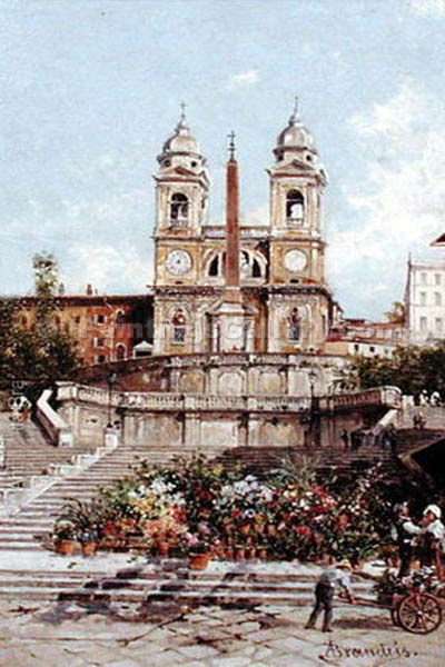 """The Flower Market before the Spanish Steps in Rome"" by  Antonietta Brandeis"