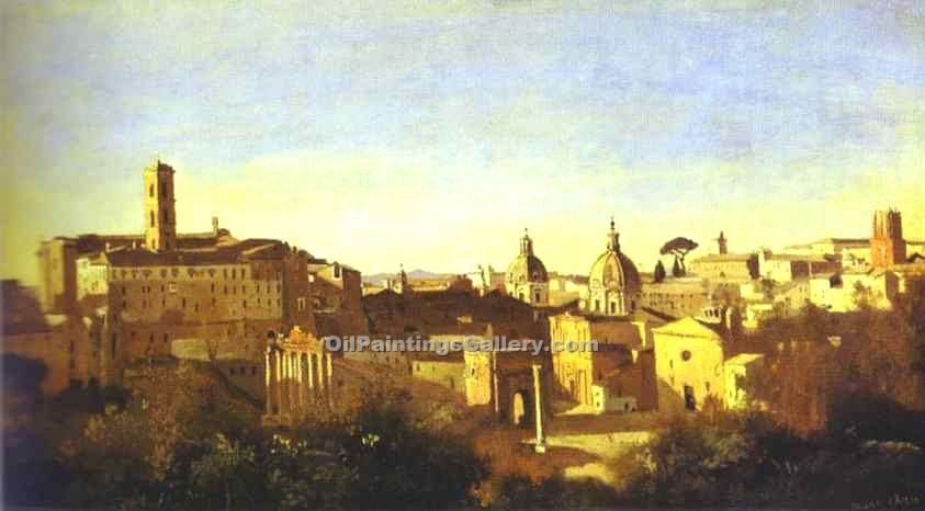 """The Forum Seen from the Farnese Gardens"" by  Jean Baptiste Corot"