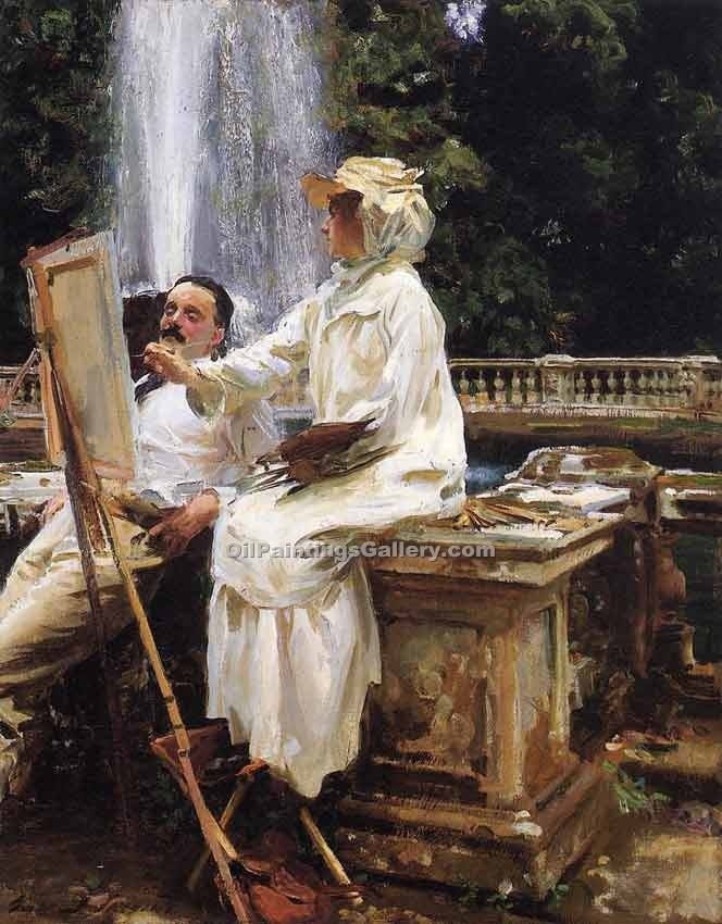 """The Fountain Villa Torlonia Frascati Italy"" by  John Singer Sargent"