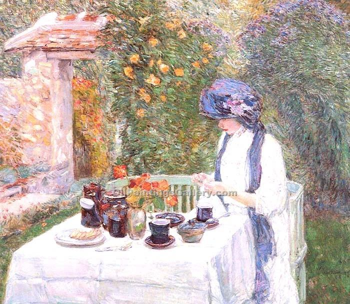 """The French Tea Garden"" by  Frederick Childe Hassam"