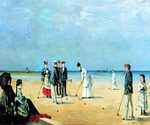The Game of Croquet by  Louise Abbema (Painting ID: ED-0125-KA)