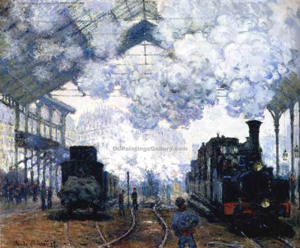 """The Gare Saint Lazare Arrival of a Train"" by  Claude Monet"