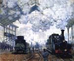 The Gare Saint Lazare Arrival of a Train by  Claude Monet (Painting ID: MO-1175-KA)