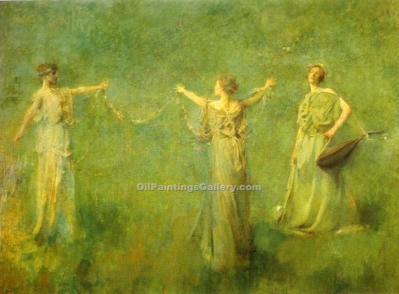 """The Garland 31"" by  Thomas Wilmer Dewing"
