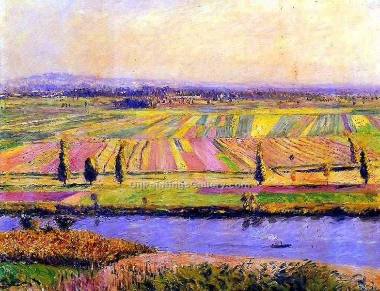 """The Gennevilliers Plain Seen from Argenteuil"" by  Gustave Caillebotte"