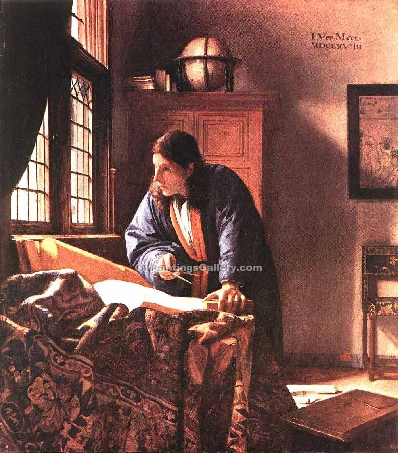 The Geographer by Vermeer Jan | Art Deco Paintings - Oil Paintings Gallery