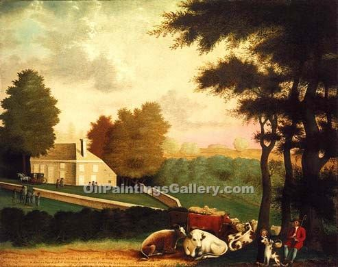 The Grave of William Penn by Edward Hicks | Art Paintings For Sale - Oil Paintings Gallery