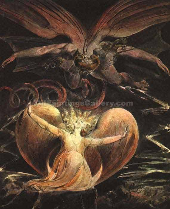 The Great Red Dragon and the Woman by William Blake | Canvas Paintings - Oil Paintings Gallery