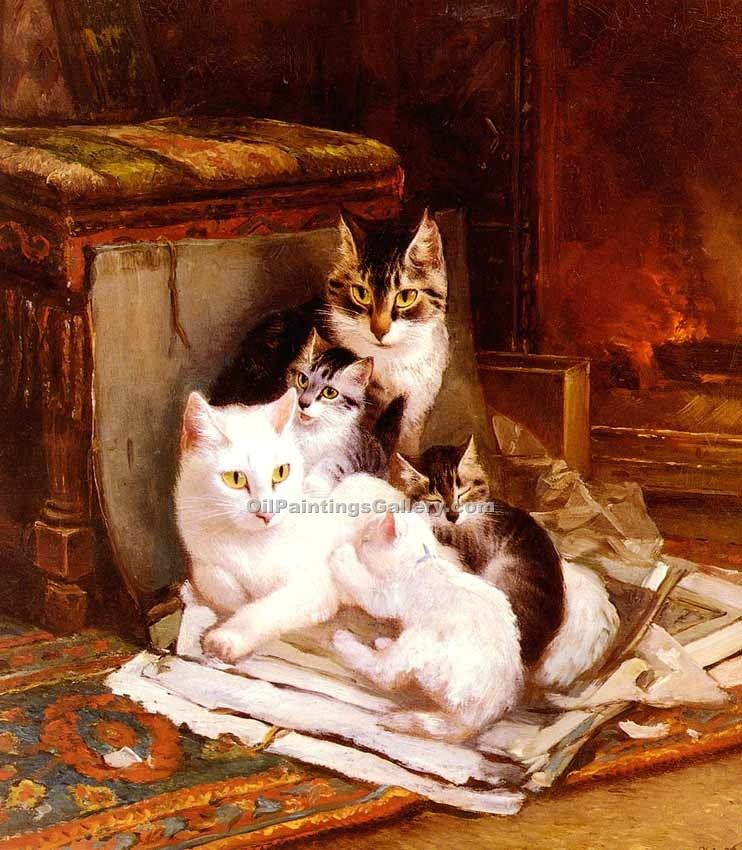 """The Happy Litter"" by  Henriette Ronner Knip"