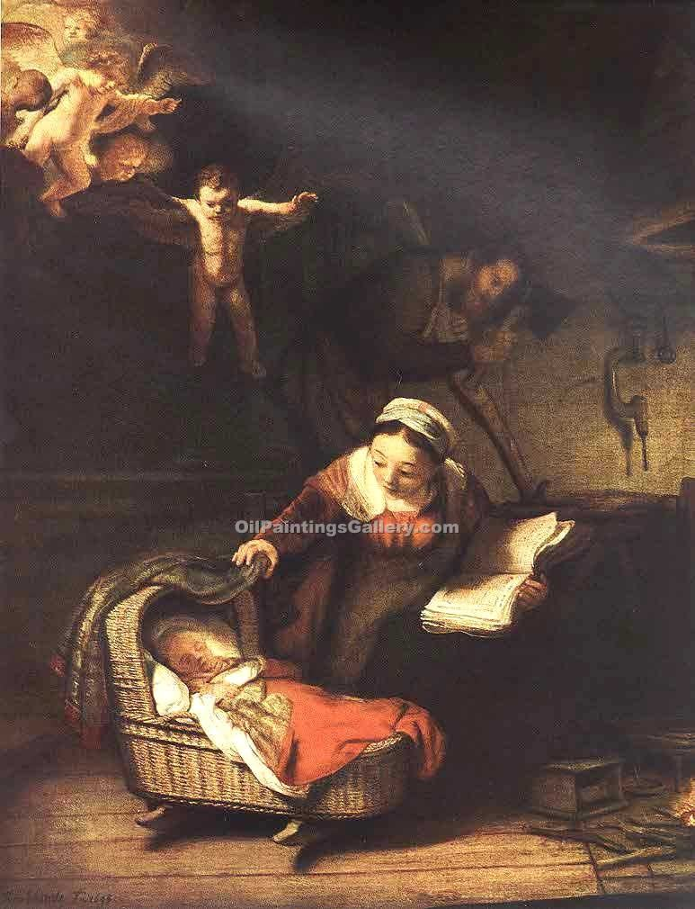 The Holy Family with Angels 96 by Rembrandt Harmenszoonvan VanRijn | Modern Artists Paintings - Oil Paintings Gallery