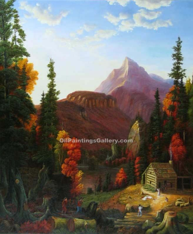 """The Hunters Return 59"" by  Thomas Cole"