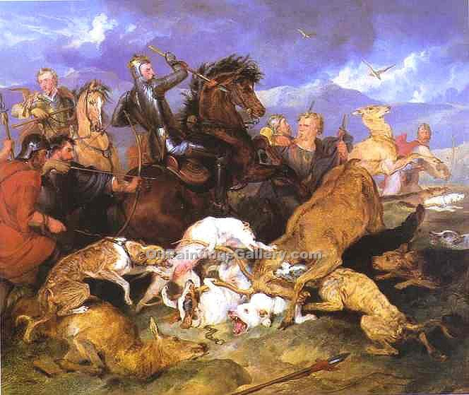 The Hunting of Chevy Chase by Sir Edwin Henry Landseer | Where To Buy Art - Oil Paintings Gallery