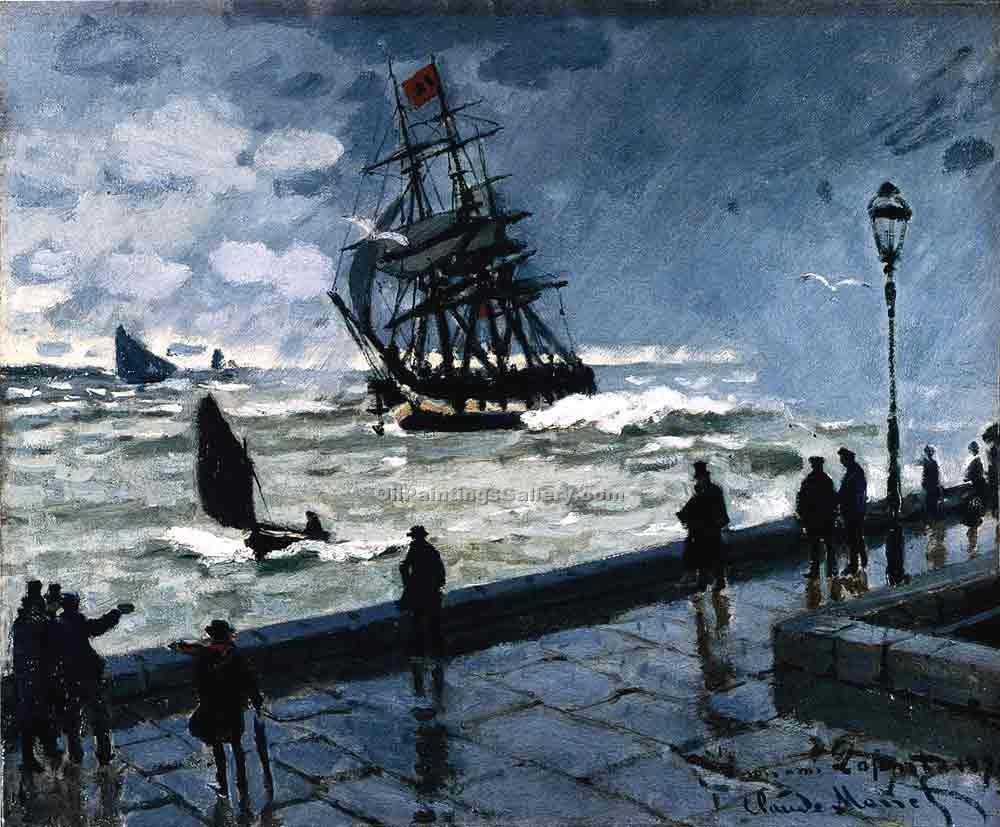 """The Jetty at le Havre Bad Weather"" by  Claude Monet"