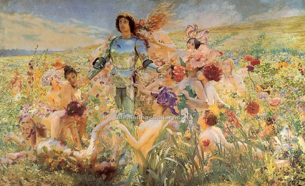 The Knight of the Flowers by Rochegrosse Georges Antoine | Art Deco Paintings - Oil Paintings Gallery