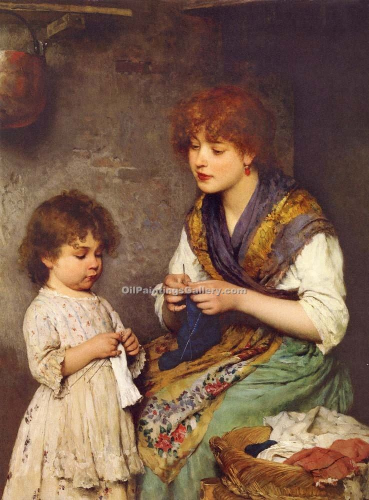 """The Knitting Lesson"" by  Eugene de Blaas"