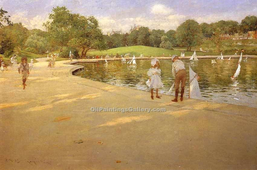 """The Lake for Miniature Yachts Central Park"" by  William Merritt Chase"