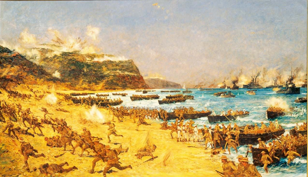 The Landing At Anzac By Charles Edward Dixon Painting Id