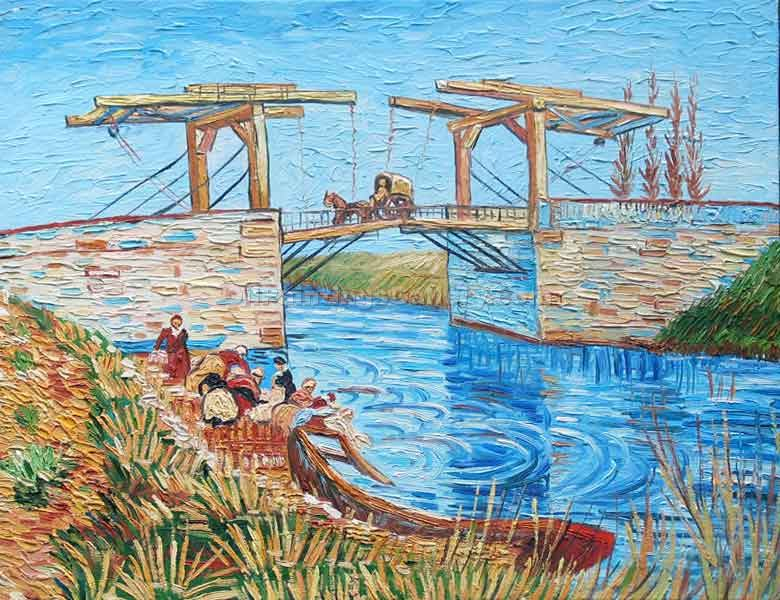 """The Langlois Bridge at Arles with Women Washing 13"" by  Vincent Van Gogh"