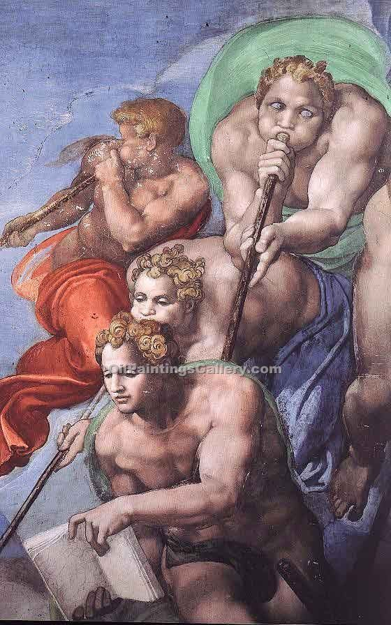 """The Last Judgement (detail) 33"" by  Buonarroti Michelangelo"