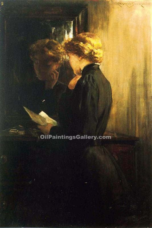 """The Letter"" by  James Carroll Beckwith"