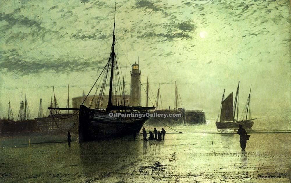 """The Lighthouse at Scarborough"" by  John Atkinson Grimshaw"