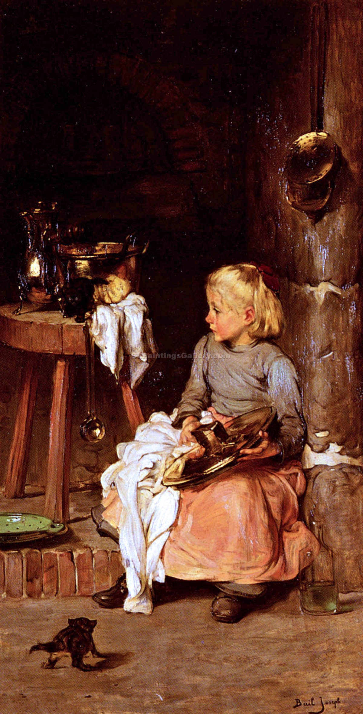 """The Little Girl and Her Cauldron"" by  Claude Joseph Bail"