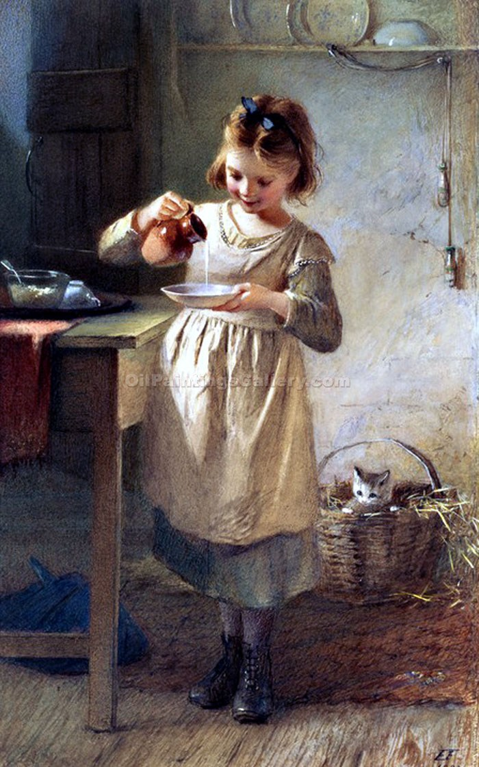 The Little Girl and Her Kitten by Claude JosephBail | Artist Painting - Oil Paintings Gallery